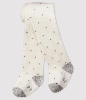 Gepunktete Baby-Strumpfhose für Mädchen weiss Marshmallow / grau Argent
