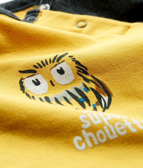 Langärmeliges Baby-T-Shirt für Jungen gelb Boudor / schwarz City