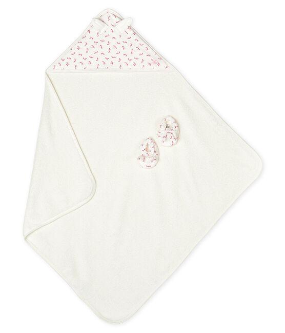 Box mit Badetuch und Babyschuhen aus Frottee und Rippstrick weiss Marshmallow / rosa Groseiller