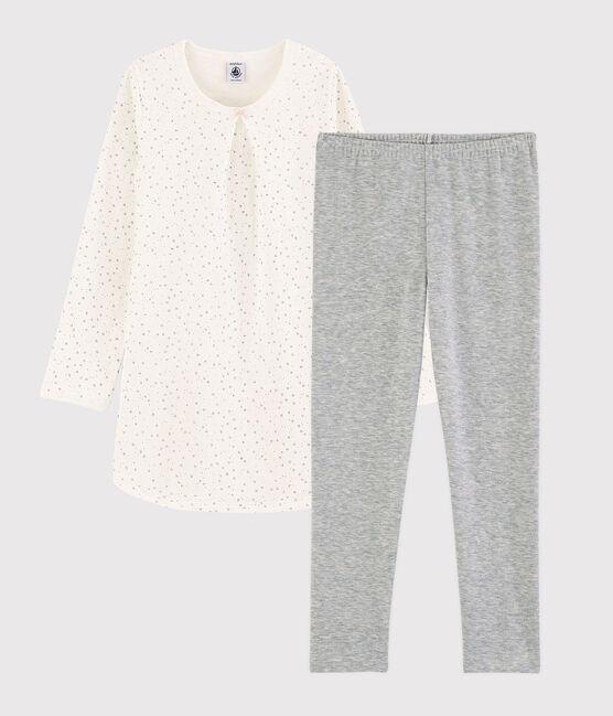 Chemise de nuit étoilée avec legging petite fille en tubique weiss Marshmallow / grau Argent
