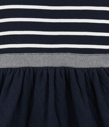 Gestreiftes Mädchen Kleid im Materialmix