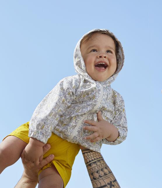 Gemusterte Baby-Windjacke Unisex weiss Marshmallow / blau Brut