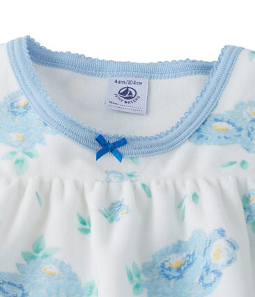 Bedrucktes Nachthemd aus Nicki mit passenden Leggings weiss Lait / blau Bleu
