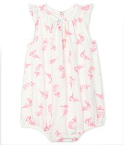 Baby-Kurzoverall aus Feinjersey für Mädchen weiss Marshmallow / rosa Rose
