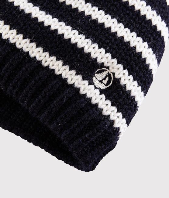 Kinder-Mütze aus Strickstoff Jungen – Mädchen blau Smoking / weiss Marshmallow