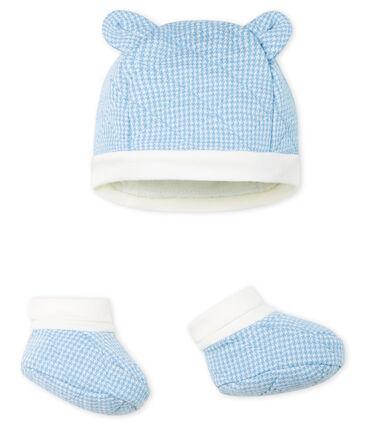 Set mit Mützchen und Babyschuhen aus gestepptem Doppeljersey für Jungen.