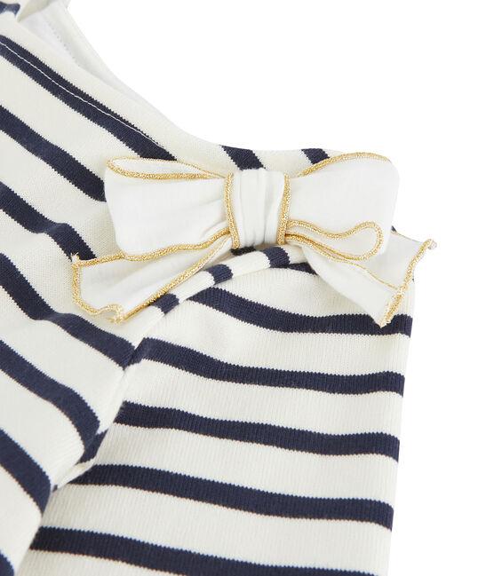 Matrosenshirt mit Schleife für Mädchen weiss Marshmallow / blau Smoking