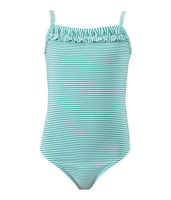 Gestreifter Mädchen-Badeanzug grün Flag / weiss Lait
