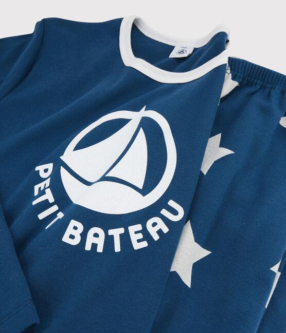 Rippstrick-Pyjama mit Sternen für Jungen blau Major / weiss Ecume