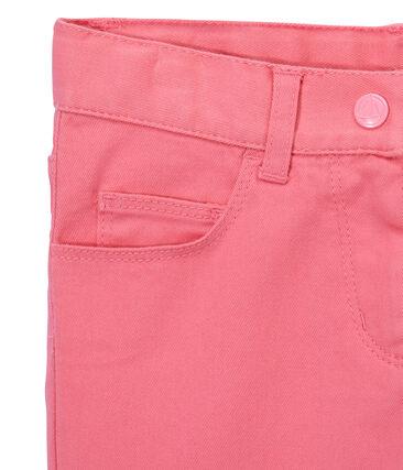 Mädchen-Hose aus farbigem Denim rosa Petal