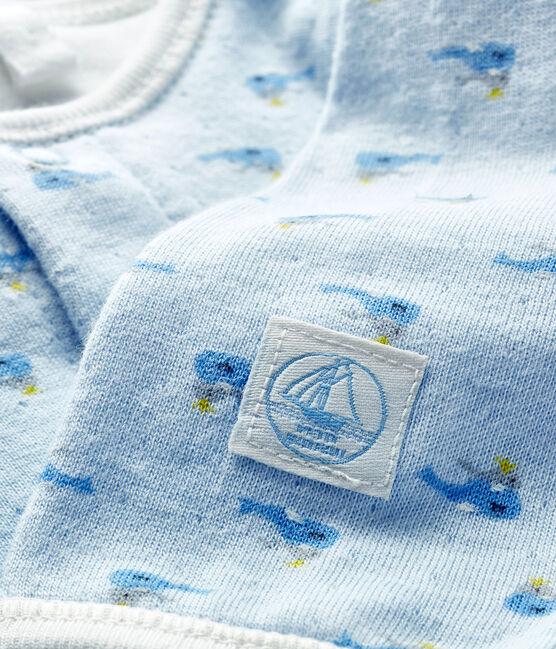Baby-Bodyjama aus Doppeljersey blau Fraicheur / weiss Multico