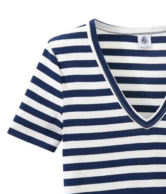 Gestreiftes Damen-T-Shirt mit V-Ausschnitt aus Original-Rippstrick blau Medieval / weiss Marshmallow