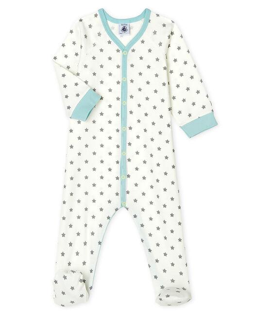 Baby-Strampler aus Rippstrick für Jungen weiss Marshmallow / grau Gris