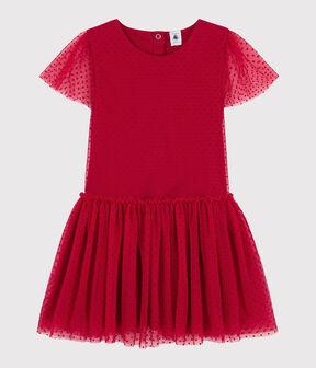 Kurzärmeliges Kinderkleid für Mädchen rot Terkuit