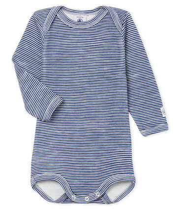 Langärmliger Baby-Body aus Wolle und Baumwolle blau Medieval / weiss Marshmallow