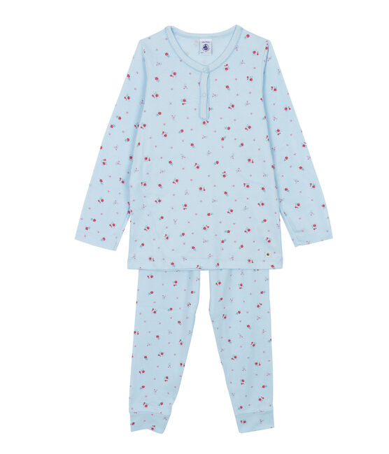 Pyjama für kleine Mädchen blau Fraicheur / weiss Multico