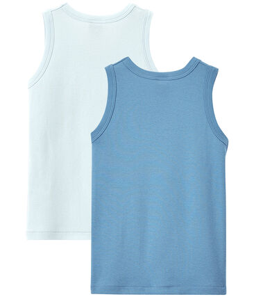 Einfarbige Jungen-Unterhemden im 2er-Set