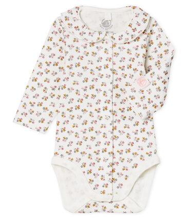 Langärmliger Neugeborenen-Body aus Rippstrick für Mädchen weiss Marshmallow / rosa Charme