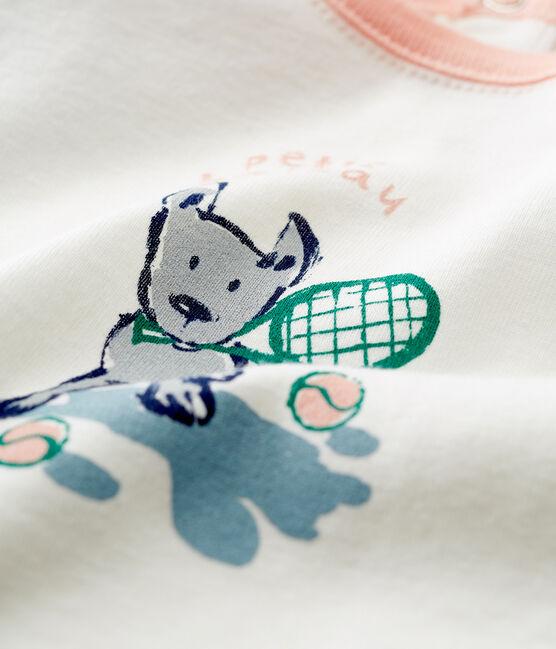 Kurzärmeliges baby-t-shirt mit motiv jungen weiss Marshmallow / grün Pinede