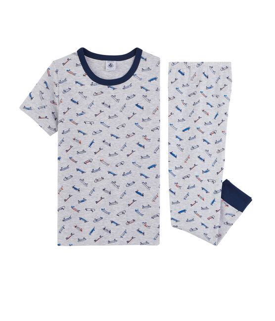Rippstrick-Pyjama, für kleine Jungen grau Poussiere / weiss Multico