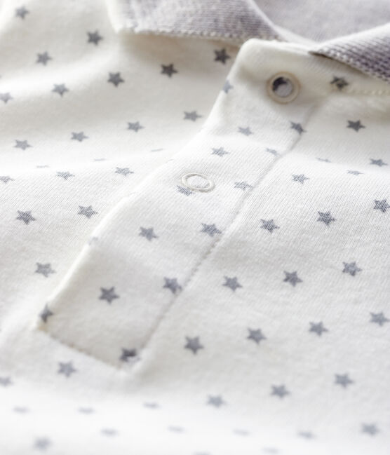 Langärmliger Baby-Body mit Polokragen weiss Marshmallow / grau Gris