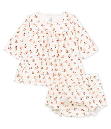 Baby-Kleid und -Bloomer für Mädchen in Rippstrick weiss Marshmallow / weiss Multico