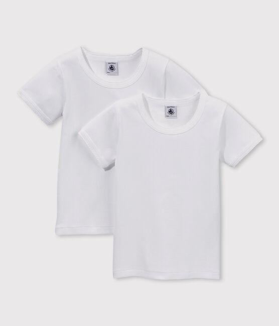 Set aus zwei weißen T-Shirts mit kurzen Ärmeln für Mädchen lot .