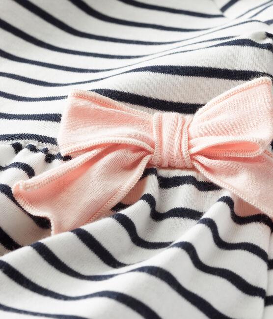 Kurzärmeliges gestreiftes Babykleid für Mädchen weiss Marshmallow / blau Smoking