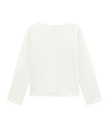 Mädchen-Cardigan aus gedoppeltem Jersey weiss Marshmallow