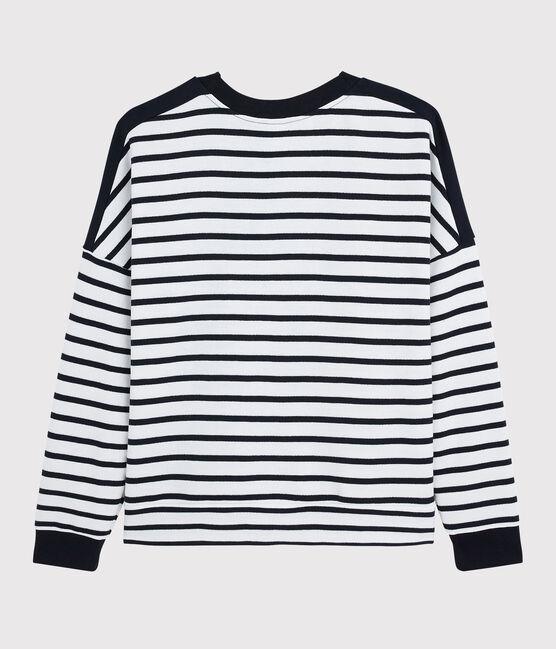 Damen Sweatshirt weiss Marshmallow / blau Smoking