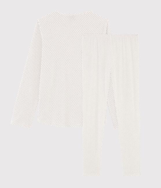 Gepunkteter Rippstrick-Pyjama für Mädchen weiss Marshmallow / blau Medieval