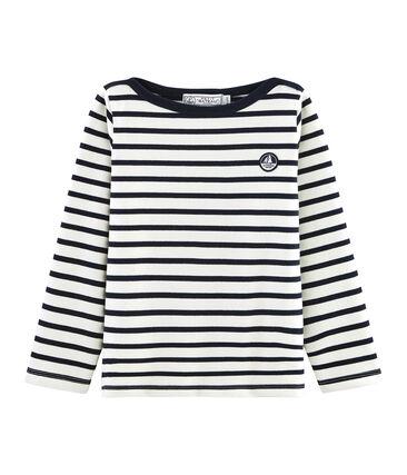 Emblematisches Kinder-Streifenshirt für Jungen beige Coquille / blau Smoking