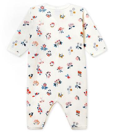 Baby Mädchen Strampler ohne Fuß in Rippstrick weiss Marshmallow / weiss Multico