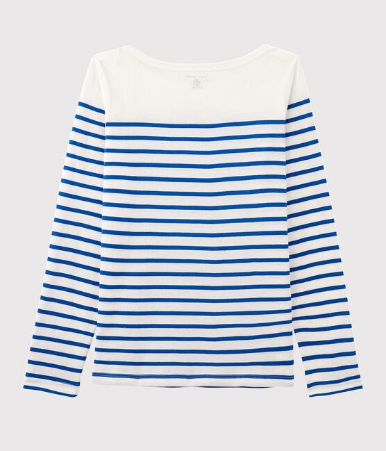 T-Shirt mit Marinestreifen für Damen Serge Bloch weiss Marshmallow / blau Perse