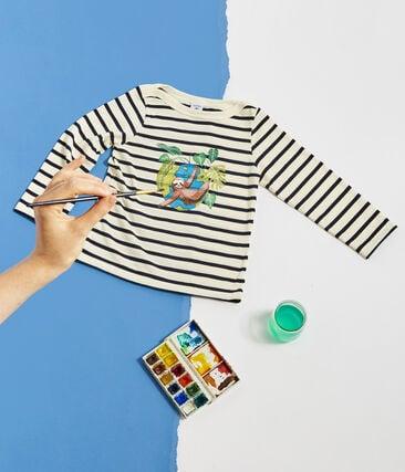 Kinder-Streifenshirt Unisex beige Coquille / blau Smoking