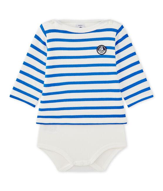 Langärmeliger Baby-Body im maritimen Stil weiss Marshmallow / blau Perse