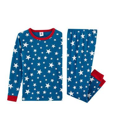 Sehr eng anliegender Rippstrick-Pyjama für kleine Jungen blau Major / weiss Ecume
