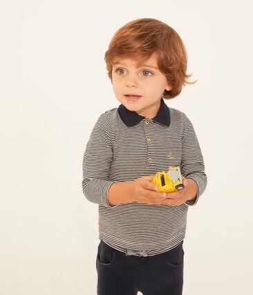 Langärmeliges baby-polohemd aus piqué in ringelstreifenmuster jungen