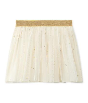 Mädchen-Tüllrock mit Sternenmuster beige Coquille / gelb Dore