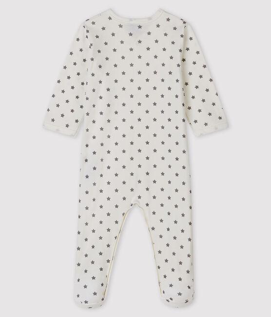 Baby-Strampler mit Sternenmuster aus Rippstrick weiss Marshmallow / grau Gris