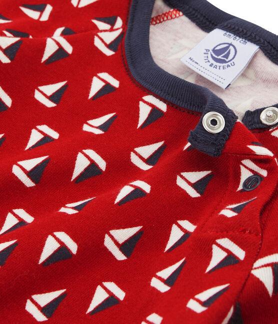 Gemustertes Baby-T-Shirt für Jungen beige Coquille / rot Terkuit