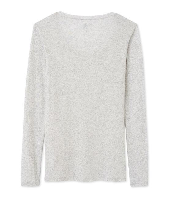 T-shirt femme manches longues col danseuse en coton léger grau Beluga Chine