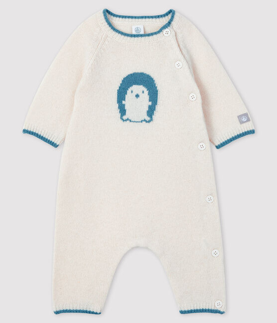 Gestrickter Baby-Langoverall mit Jacquard-Muster weiss Marshmallow