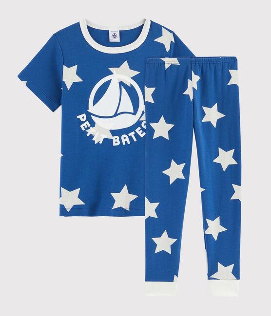 Rippstrick-Pyjama mit Sternen-Print für kinder blau Major / weiss Ecume