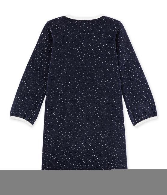 Chemise de nuit fille en bouclette velours blau Smoking / grau Argent
