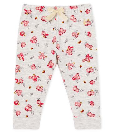 Baby-Hose aus bedrucktem Doppeljersey für Mädchen grau Beluga / weiss Multico