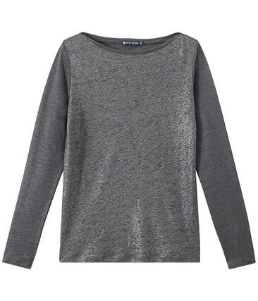 Damen-Langarmshirt aus irisierendem Leinen grau Maki / grau Argent