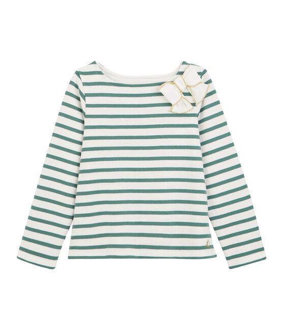 Matrosenshirt mit Schleife für Mädchen weiss Marshmallow / blau Brut