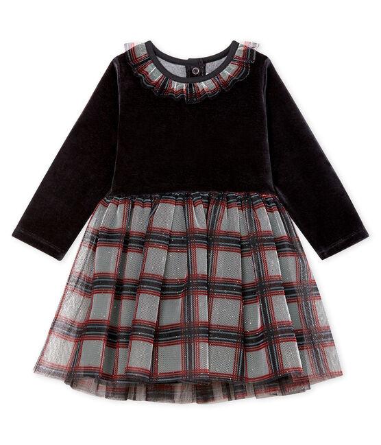 Langärmeliges Babykleid aus Materialmix für Mädchen schwarz Noir / weiss Multico