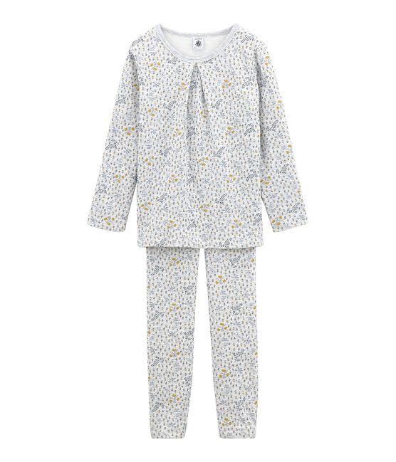 Pyjama aus Doppeljersey für kleine Mädchen grau Poussiere / weiss Multico